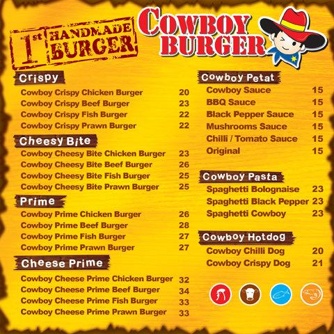 cowboy burger menu yellow
