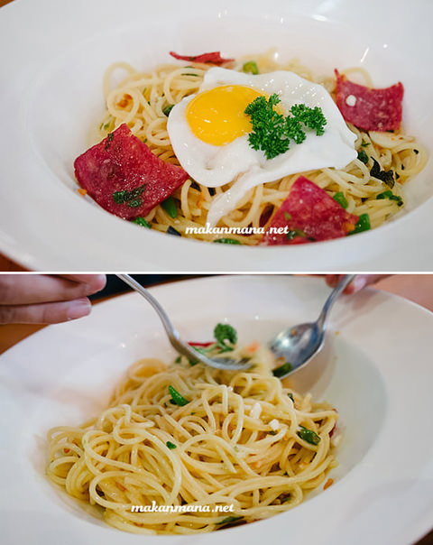 sunny egg and bacon pasta Coffee knowledge with Ronald Prasanto, Pilastro